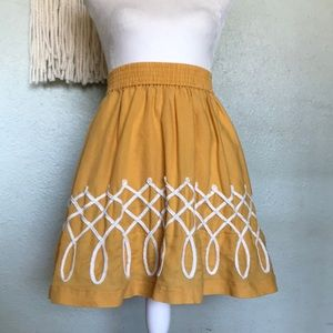 Anthropologie Girls from Savoy embroidered skirt